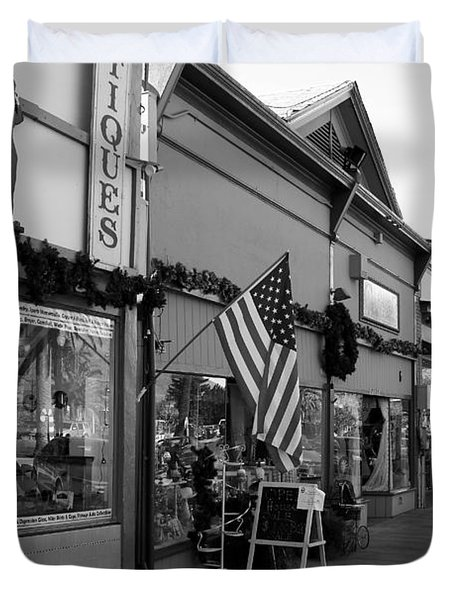 Historic Niles District in California Near Fremont . Main Street . Niles Boulevard . 7D10701 . bw Duvet Cover by Wingsdomain Art and Photography