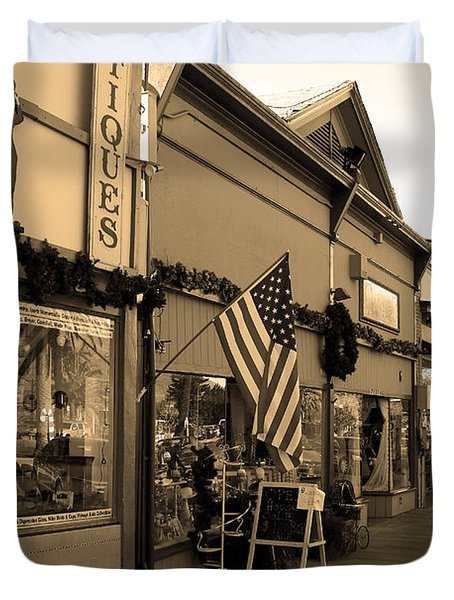Historic Niles District in California Near Fremont . Main Street . Niles Boulevard . 7D10701 . sepia Duvet Cover by Wingsdomain Art and Photography