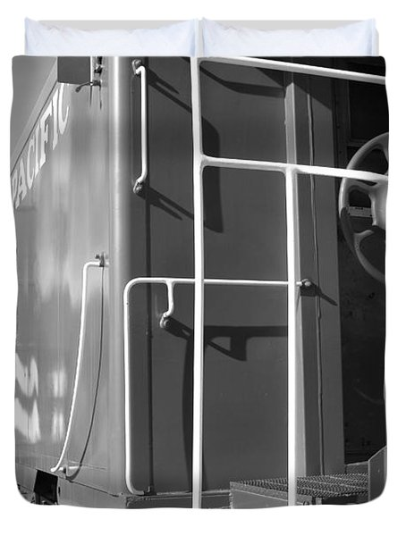 Historic Niles District in California Near Fremont . Western Pacific Caboose Train . 7D10622 . bw Duvet Cover by Wingsdomain Art and Photography