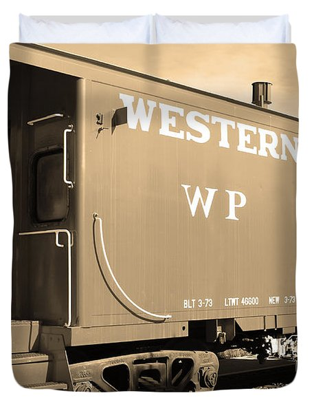 Historic Niles District in California Near Fremont . Western Pacific Caboose Train . 7D10627 . sepia Duvet Cover by Wingsdomain Art and Photography