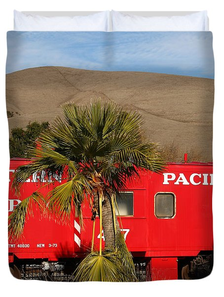 Historic Niles District in California Near Fremont . Western Pacific Caboose Train . 7D10718 Duvet Cover by Wingsdomain Art and Photography