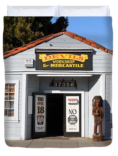 Historic Niles District In California.motorized Bike Outside Devils Workshop And Mercantile.7d12727 Duvet Cover by Wingsdomain Art and Photography