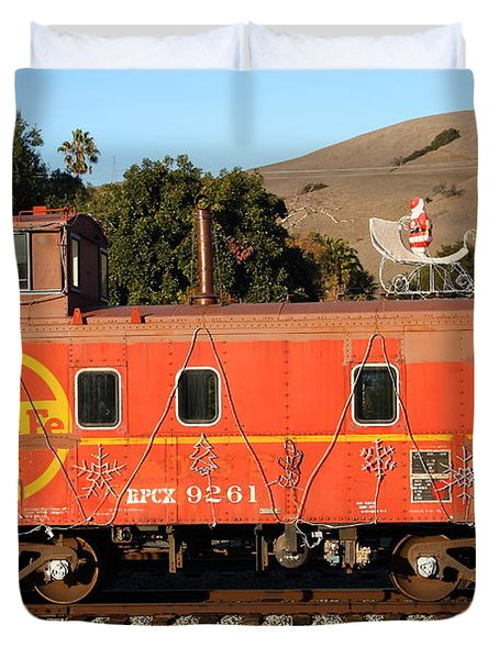 Historic Niles Trains in California . Old Sante Fe Caboose . 7D10832 Duvet Cover by Wingsdomain Art and Photography