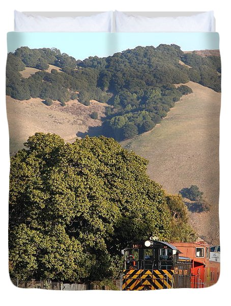 Historic Niles Trains in California . Old Southern Pacific Locomotive and Sante Fe Caboose . 7D10817 Duvet Cover by Wingsdomain Art and Photography