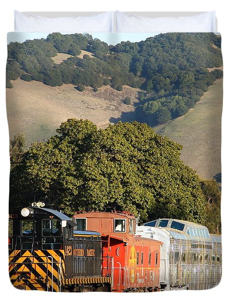 Historic Niles Trains in California . Old Southern Pacific Locomotive and Sante Fe Caboose . 7D10818 Duvet Cover by Wingsdomain Art and Photography