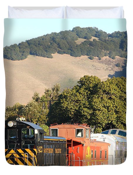Historic Niles Trains in California . Old Southern Pacific Locomotive and Sante Fe Caboose . 7D10819 Duvet Cover by Wingsdomain Art and Photography