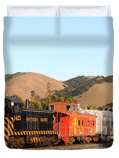 Historic Niles Trains in California . Old Southern Pacific Locomotive and Sante Fe Caboose . 7D10822 Duvet Cover by Wingsdomain Art and Photography