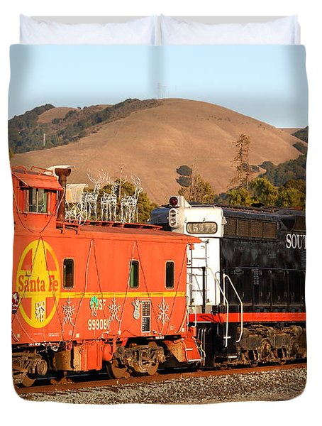 Historic Niles Trains in California . Old Southern Pacific Locomotive and Sante Fe Caboose . 7D10843 Duvet Cover by Wingsdomain Art and Photography