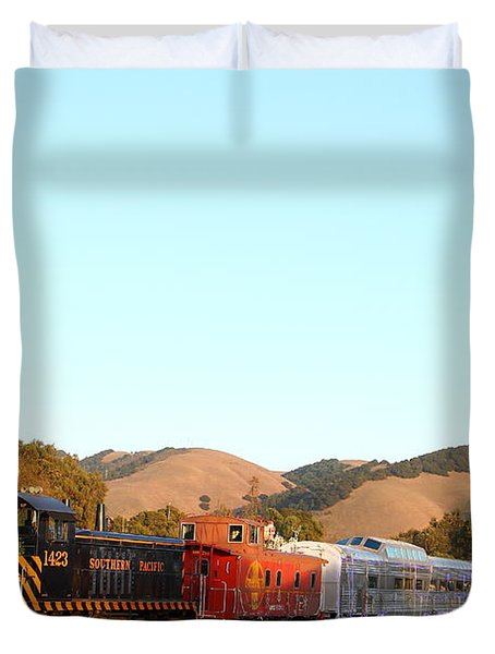 Historic Niles Trains in California . Old Southern Pacific Locomotive and Sante Fe Caboose . 7D10869 Duvet Cover by Wingsdomain Art and Photography