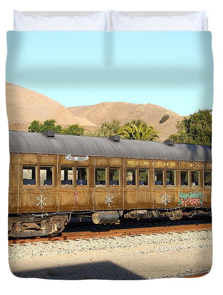 Historic Niles Trains in California . Old Western Pacific Passenger Train . 7D10836 Duvet Cover by Wingsdomain Art and Photography
