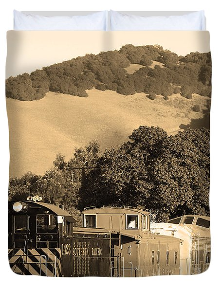 Historic Niles Trains In California.southern Pacific Locomotive And Sante Fe Caboose.7d10819.sepia Duvet Cover by Wingsdomain Art and Photography