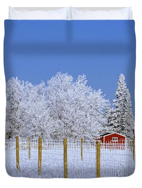 Hoarfrost On Trees Around Red Barns Duvet Cover by Mike Grandmailson
