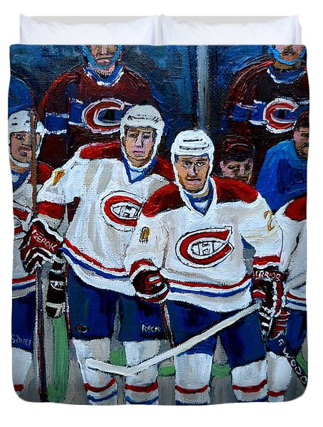HOCKEY ART AT BELL CENTER MONTREAL Duvet Cover by CAROLE SPANDAU