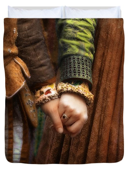 Holding Hands Duvet Cover by Jill Battaglia