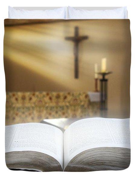 Holy Bible In A Church Duvet Cover by John Short