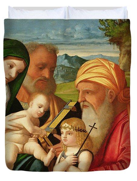 Holy Family With St. Simeon And John The Baptist Duvet Cover by Francesco Rizzi da Santacroce