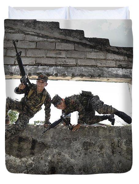 Honduran Army Soldiers Perform Building Duvet Cover by Stocktrek Images