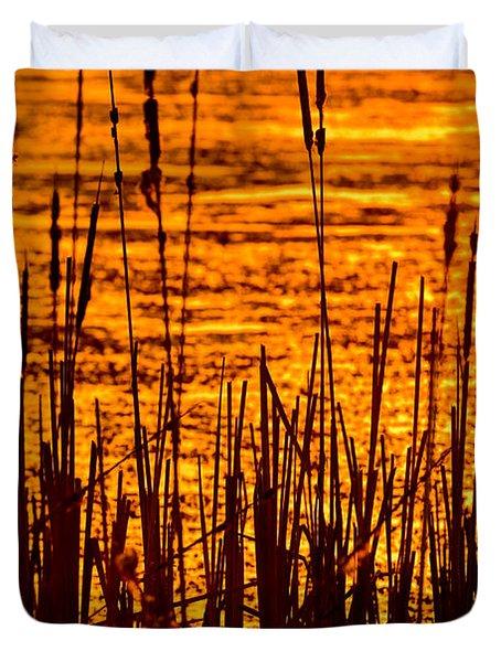 Horicon Cattail Marsh Wisconsin Duvet Cover by Steve Gadomski