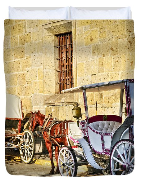 Horse drawn carriages in Guadalajara Duvet Cover by Elena Elisseeva