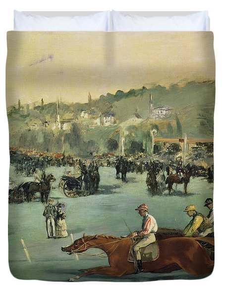 Horse Racing Duvet Cover by Edouard Manet