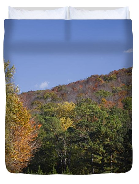 Horses And Autumn Landscape Duvet Cover by Kathy Clark