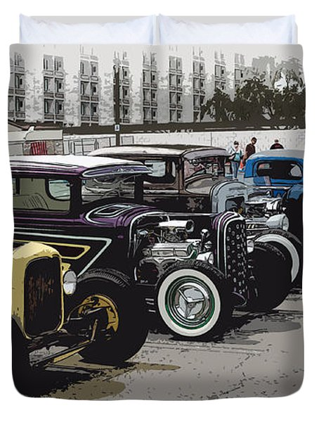 Hot Rod Row Duvet Cover by Steve McKinzie