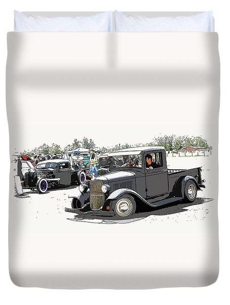 Hot Rod Show Trucks Duvet Cover by Steve McKinzie