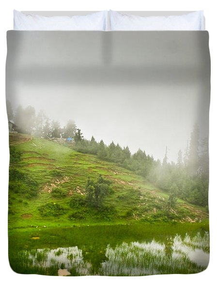 House And Fog Duvet Cover by Syed Aqueel