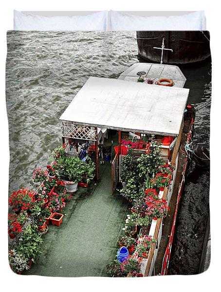 Houseboats In Paris Duvet Cover by Elena Elisseeva