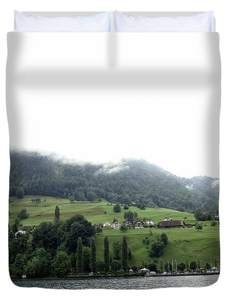 Houses On The Greenery Of The Slope Of A Mountain Next To Lake Lucerne Duvet Cover by Ashish Agarwal