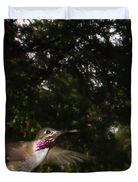 Hummer In Flight Duvet Cover by Joyce Dickens