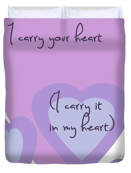 i carry your heart i carry it in my heart - lilac purples Duvet Cover by Nomad Art And  Design