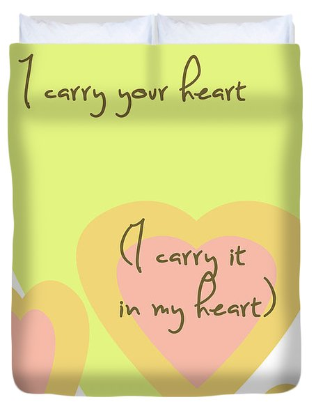 i carry your heart i carry it in my heart - yellow and peach Duvet Cover by Nomad Art And  Design