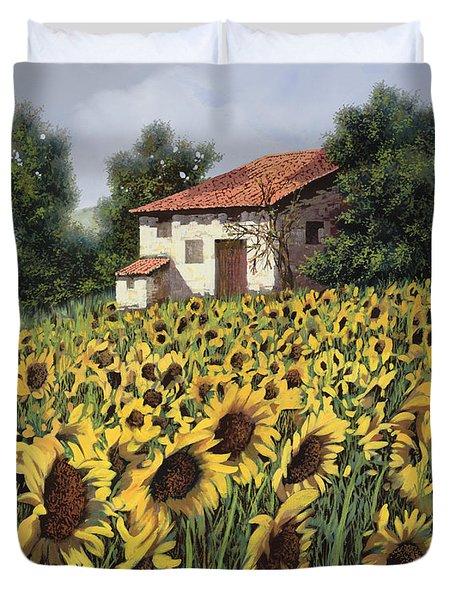 i girasoli nel campo Duvet Cover by Guido Borelli