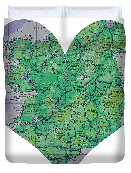 I Love Ireland Heart Map Duvet Cover by Georgia Fowler