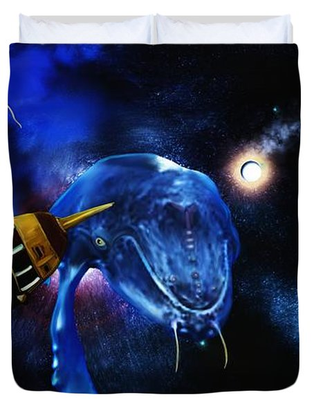 I Think Something Is Out There Duvet Cover by Shere Crossman
