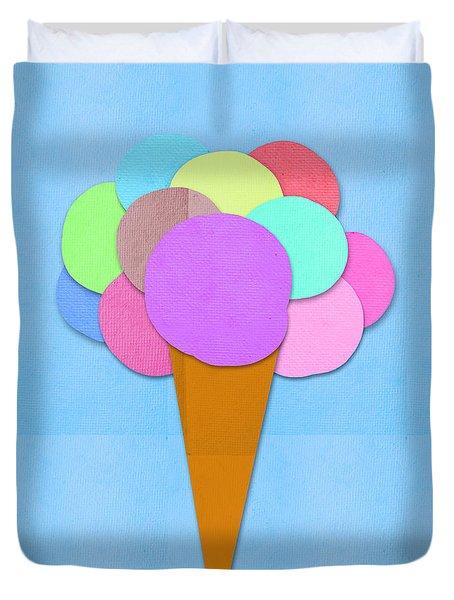 Ice Cream On Hand Made Paper Duvet Cover by Setsiri Silapasuwanchai
