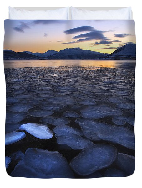 Ice Flakes Drifting Towards Duvet Cover by Arild Heitmann