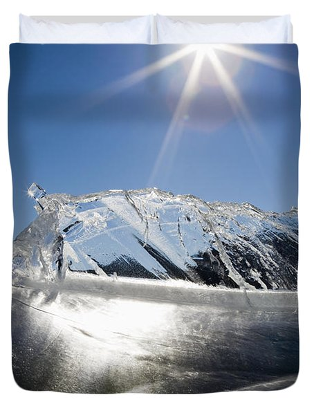 Ice Formations On A Frozen Lake Duvet Cover by Michael Interisano