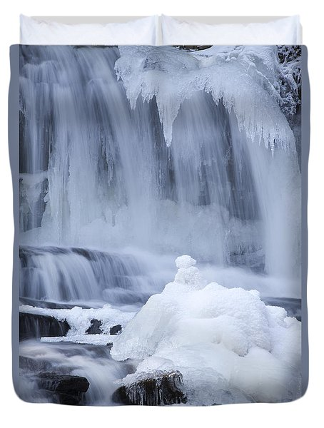 Icy Winter Waterfall Duvet Cover by John Stephens