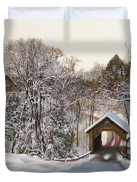 il ponte coperto di legno Duvet Cover by Guido Borelli