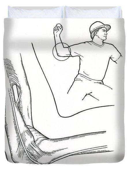 Illustration Of Elbow Ligaments Duvet Cover by Science Source