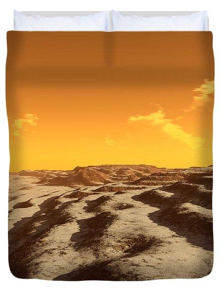 Illustration Of Terraced Terrain Duvet Cover by Ron Miller