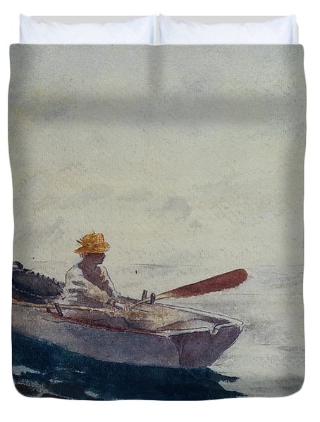 In A Boat Duvet Cover by Winslow Homer