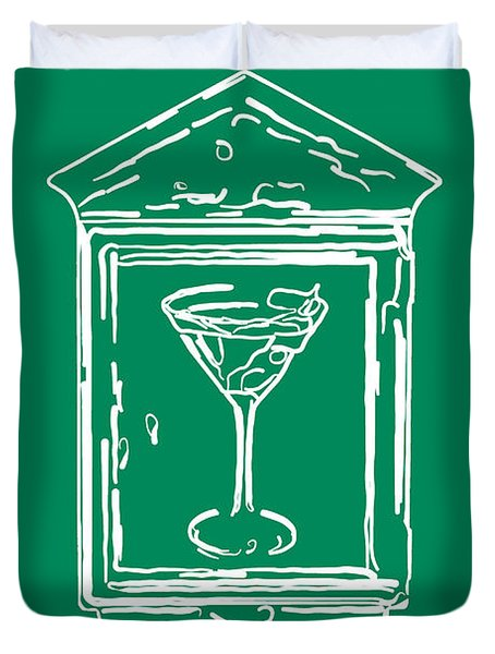 In Case Of Emergency - Drink Martini - Green Duvet Cover by Wingsdomain Art and Photography