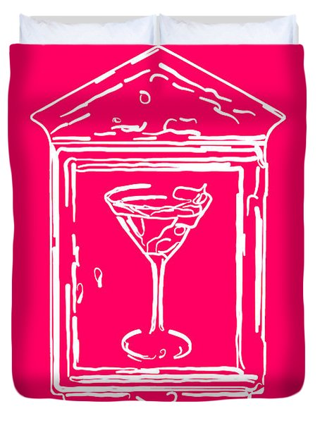 In Case Of Emergency - Drink Martini - Pink Duvet Cover by Wingsdomain Art and Photography