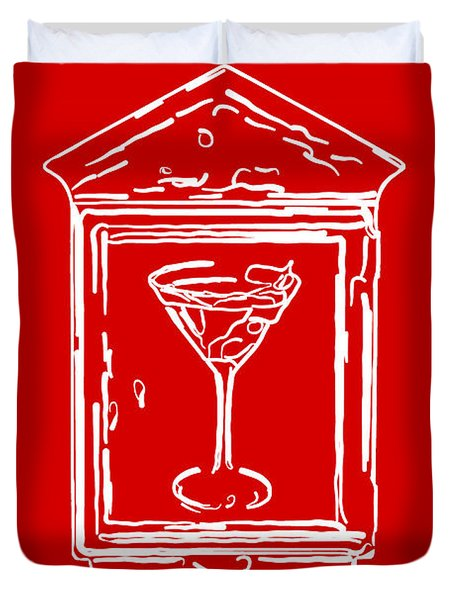 In Case Of Emergency - Drink Martini - Red Duvet Cover by Wingsdomain Art and Photography
