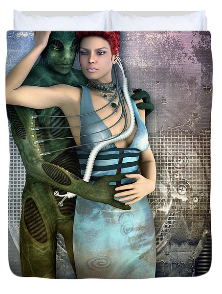 In Love With An Alien Duvet Cover by Jutta Maria Pusl