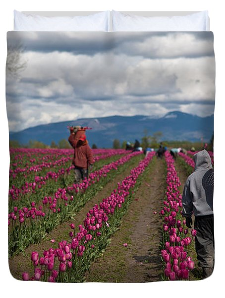 In The Tulip Fields Duvet Cover by Mike Reid