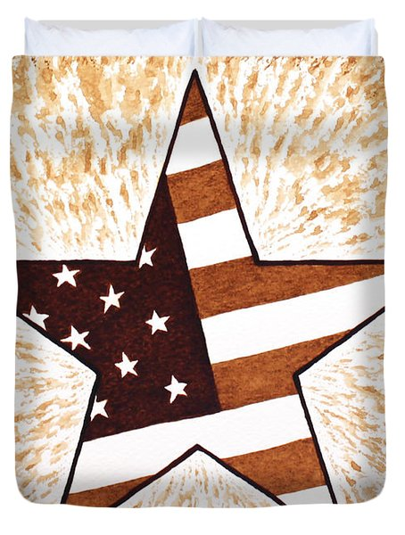 Independence Day Star USA Flag coffee painting Duvet Cover by Georgeta  Blanaru